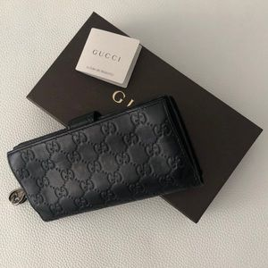 "Gucci ""GG"" Twins Long Black Leather Wallet"